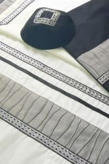 "Talit Set Gray Waves/Black Silver - Size: 20"" x 80"" - Made in Israel by Eretz Fashionable Judaica"