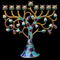 "Menorah Jeweled 6.5"" - Color: Blue/Purple"