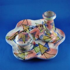 Havdallah Set Ceramic Includes Plate, Candle Holder And Spice Box, Colorful, Made In Israel