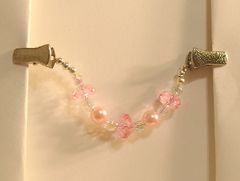 Pink Pearl and Crystal Tallit Clips