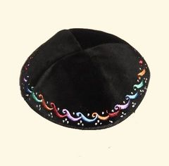 Kippah Velvet Black w/Color Embroidered Border