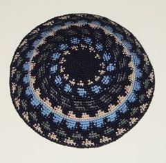 Kippah Knit Blue Gray Beige