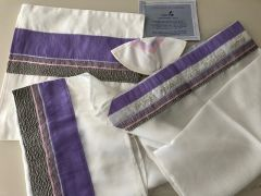 "Talit Set Pink/Purple 18"" x 72"" designed by Eretz Fashionable Judaica"