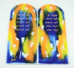 Wall Hanging Ten Commandments Glass, Hand Painted By Doris, Made In Israel, 8.5 Inches H X 7.75 Inches W