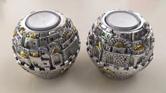 "Polyresin Set of 2 Jerusalem Ball Candle Holders - 3"" Diam"