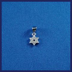 "Charm Star Of David Zirconia Sterling Silver 1/2"" Made In Israel"