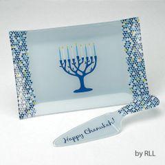 """Tree of Life"" Chanukah Glass Tray and Server Set"