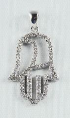 Necklace Charm Chamsah, Sterling Silver Size; 1.25""