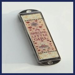 Brass And Enamel Mezuzah Case Special Girl 4 Inches L X 1 Inches W - SCROLL SOLD SEPARATELY