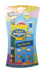 Chanukah Stationary Kit - 2 Pencils, 2 Erasers, Notebook and Sharpener - Hanukah Arts and Crafts - Gifts and Games by Izzy 'n' Dizzy
