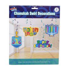 Chanukah Swirl Decorations - 8 Pieces