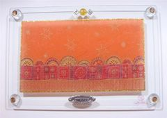 Challah Plate Glass W/Jerusalem Design In Orange 15 Inches L X 9 7/8 Inches W - Made In Israel