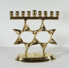 Menorah Brass Double Star Of David 6 Inches Wide X 6 Inches Tall, Comes With Blue Velvet Box