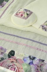 "Talit/Bag Set 18"" x 72"" Cream/Flowers - Made in Israel by Eretz Judaica"