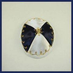 Kippah Baby Satin White/Blue/Gold or White/Gold