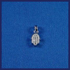 Charm Chamsah Mini Sterling Silver With Zirconia 1/2 Inches - Made In Israel