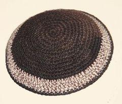 "Kippah Crochet Shades of Browns Size: 6.5"" Diam"
