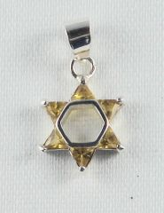 Charm Star Of David Small 1/2 Inches Long With Yellow Stones, Sterling Silver