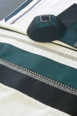 "Talit Set Black/Teal - Size: 20"" x 80"" - Made in Israel by Eretz Fashionable Judaica"
