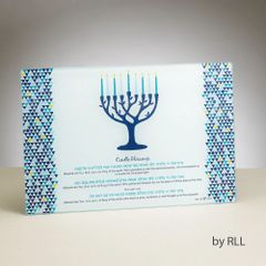 """Tree of Life"" Tempered Glass Menorah Drip Tray"