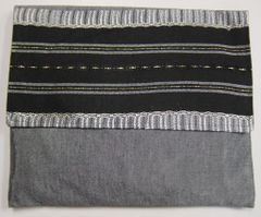 """Talit Bag Gabrieli Silver/Grey with Black/Gold and Silver accent Size:12"""" x 10"""""""