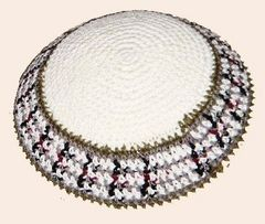 "Kippah Crochet White w/Earth Tones - Size: 6 3/4"" Diam"