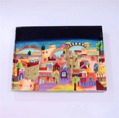 Challah Board Wood Handpainted Jerusalem Design 16 3/8 Inches L X 12.5 Inches W X 2 Inches H By Yair Emanuel - Made In Israel