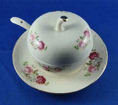 Honey Dish Set Cream With Flowers Design 3 In Diam. Includes Matching Plate 5.25 Inches Diam. And Spoon