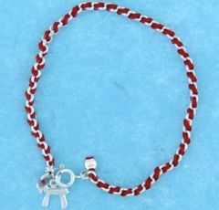 Sterling Silver Bracelet With Red String and Large Chai Charm