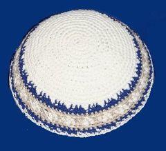 """Kippah Crochet White w/Silver & Blue - Size: 7 1/4"""" Diam."""