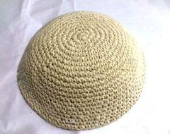 "Kippah Crochet Beige - Size: 6"" Diam"