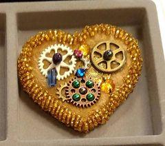 Gold Velvet Cog Heart Brooch