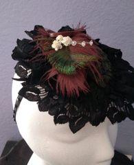 Dark Green Paisley Victorian Style Hat, Fascinator