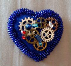 Royal Blue Cog Heart Pin