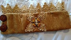 Gold Velvet Camio Cuff with Gold Lace