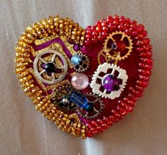Red and Gold Cog Heart Brooch