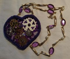 Steampunk Purple Cog Heart Necklace with Crystal and Pearl Chain