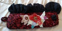 Burgandy Velvet and Black Lace with Embroidery and Beads