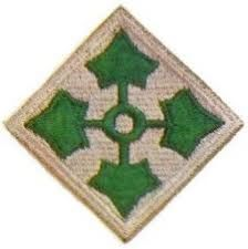 4th Infantry Division Patch Subdued (Black on Green)