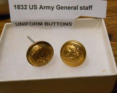 Pre Civil War 1832 pattern US Army General Staff Uniform Buttons