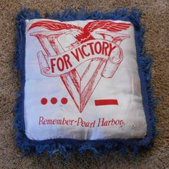 "SOLD WW2 Sweetheart pillow ""Remember Peral Harbor"" 15""x16"""