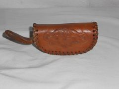 Vintage handmade Leather coin purse - 1950's era