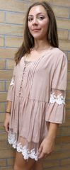 C7338 Lacey Flare Sleeve Button-Up Tunic