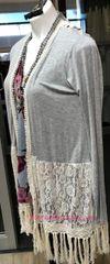 C0042 Grey Cardigan w/ Lace Detail