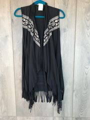 16338V - Knee Length Fringe Vest w/ Embellishment