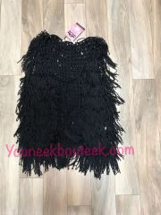 143259 - Black Fringe Vest, Hip Length
