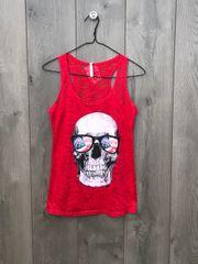 3442 - Red Tank w/ Patriotic Skull
