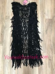 84-119 - Black Fringe Vest, Knee Length