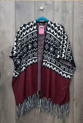 IM0526C - Navy & Burgundy Cardigan