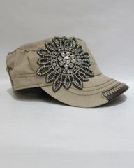 Solid Tan Cap With Crystal Flower & Brown Leather Trim On Rim